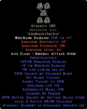 Eternity - Berserker Axe - Ethereal - 290-309% ED