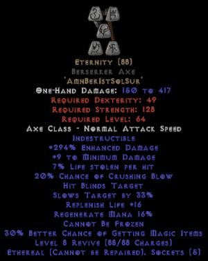 Eternity - Berserker Axe - Ethereal - 260-289% ED