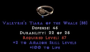 -+2 Amazon Skills/100 Life Diadem/Tiara/Circlet - 2 Socket