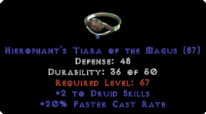 -+2 Druid Skills/100 Life Diadem/Tiara/Circlet - 0 Socket