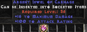 100 Attack Rating & 15 Max Damage Jewel