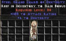 103-116 Attack Rating w/ 4-5 Dex GC