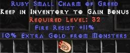 11 Resist Fire w/ 10% Gold Find SC