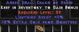 11 Resist Lightning w/ 10% Gold Find SC