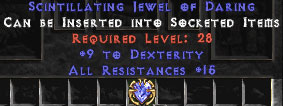 15 Resist All & 9 Dexterity Jewel