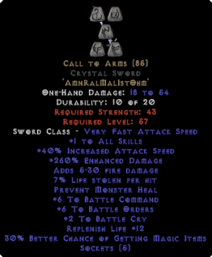 Call to Arms Crystal Sword - +6 BO & + 6 BC