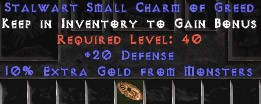 20-26 Defense w/ 10% Gold Find SC