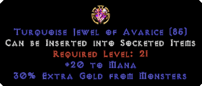 20 to Mana / 30% Extra Gold Jewel