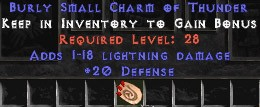 20 Defense w/ 1-18 Lightning Damage SC