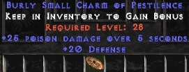 20 Defense w/ 25 Poison Damage SC