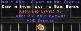 20 Defense w/ 3-6 Cold Damage SC