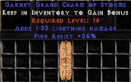25 Resist Fire w/ 1-33 Lightning Damage GC