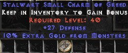 27-29 Defense w/ 10% Gold Find SC