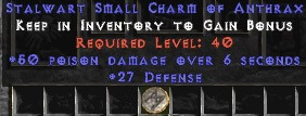 27-29 Defense w/ 50 Poison Damage SC