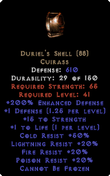 Duriel's Shell 200% Enhanced Defense