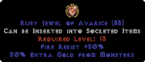 30 Fire Res / 30% Extra Gold Jewel
