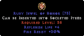 30 Fire Res / +4 Life Replenish Jewel