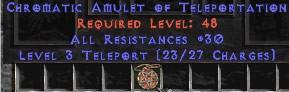 Amulet - 30 Resist All & Teleport