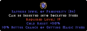30 Cold Res / 10% Magic Find Jewel