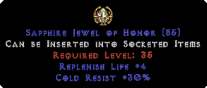 30 Cold Res / +4 Life Replenish Jewel