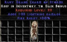 30 Resist Fire w/ 1-33 Lightning Damage GC