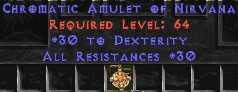 Amulet - 30 Resist All & 30 Dex
