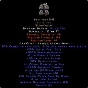 Fortitude Ettin Axe - 30 Res & 1.5 Life - Perfect