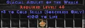 Sorceress Amulet - 3 Cold Spells & 100 Life