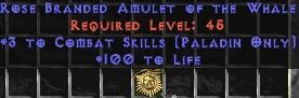 Paladin Amulet - 3 Combat Skills & 100 Life