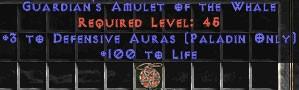 Paladin Amulet - 3 Defensive Auras & 100 Life