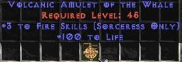 Sorceress Amulet - 3 Fire Spells & 100 Life