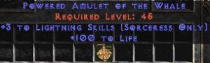 Sorceress Amulet - 3 Lightning Spells & 100 Life