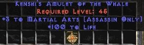 Assassin Amulet - 3 Martial Arts & 100 Life