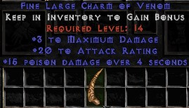 3 Max Damage w/ 20 Attack Rating & 15 Poison Damage LC