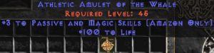 Amazon Amulet - 3 Passive/Magic Skills & 100 Life