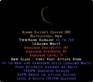 Blood Raven's Charge +4 skills & 230% ED