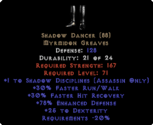 Shadow Dancer +1 Shad. Discp. & 25 Dex
