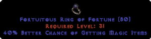 Fortuitous Ring of Fortune +40% MF