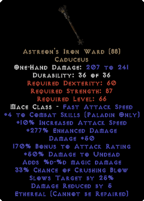 Astreon's Iron Ward - Ethereal - +4 Skills & 265%+ ED