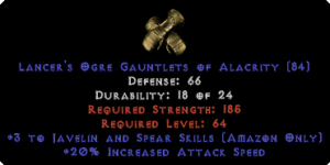 Amazon Gloves - 3 Javelin/Spear Skills & 20% IAS