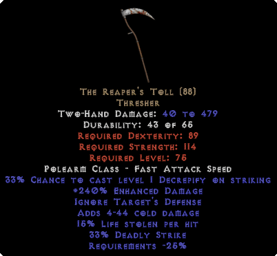 The Reaper's Toll - 240% ED & 15% LL - Perfect