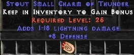8 Defense w/ 1-18 Lightning Damage SC