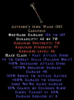 Astreon's Iron Ward +4 Skills & 265%+ ED