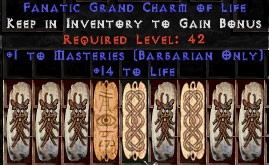 9 x Pack - Barbarian Combat Masteries w/ 10-20 Life GC