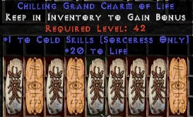 9 x Pack - Sorceress Cold Skills w/ 10-20 Life GC