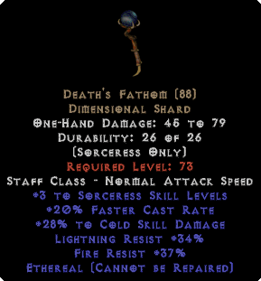 Death's Fathom - Ethereal 25-29% Cold Damage