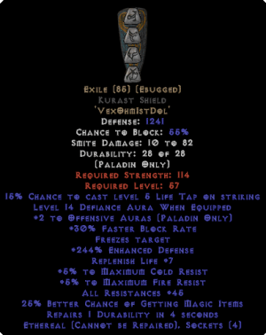Exile Kurast Shield - Eth Bugged - 45 Res - 240-259% ED