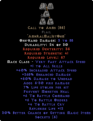 Call to Arms Flail - +6 BO/+6 BC/+4 BCry