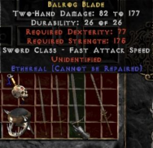 10x Unid Rare Balrog Blade Ethereal