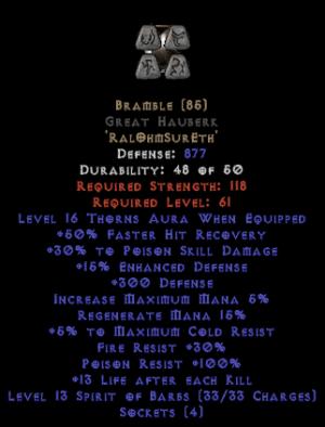 Bramble Great Hauberk - +25-39% PSD - Base 15% ED